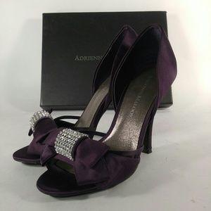 ADRIENNE MALOOF purple Satin YALISSA Heels sz 7 m